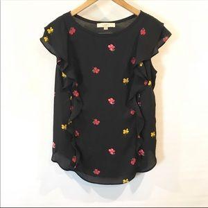 Loft | Black Floral Ruffle Sleeve Blouse S